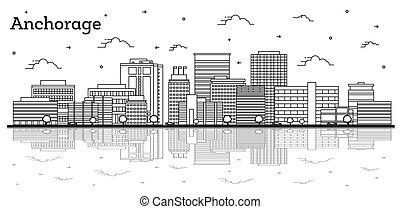riflessioni, alaska, isolato, costruzioni, orizzonte, città, white., contorno, moderno, ancoraggio