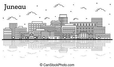 riflessioni, contorno, alaska, isolato, costruzioni, orizzonte, città, white., juneau, moderno
