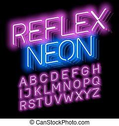 riflesso, neon, font