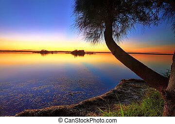 riflesso, tramonto, raggi sole, acqua