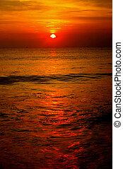 riflettere, oceano tramonto