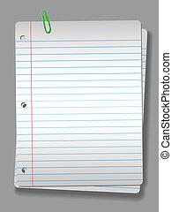 riflettore, carta quaderno, clip, 2, pagine, fondo