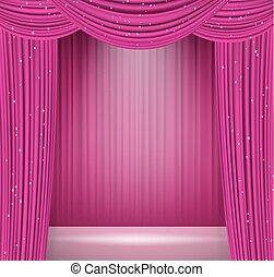 riflettore, opera, vettore, cinema, o, sagoma, disegno, altro, fondo, rosa, presentazione, teatro, tema, tenda, stage., intrattenimento