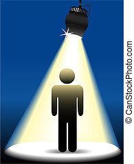 riflettore, palcoscenico, simbolo, persona