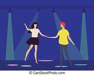 riflettori, ballo, club, persone, discoteca, sotto
