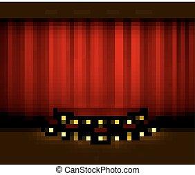 riflettori, pavimento, legno, scena, vettore, tenda, rosso, palcoscenico