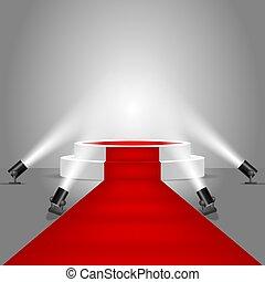 riflettori, podio, vettore, moquette, rosso, palcoscenico