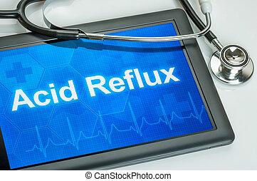 riflusso acido, diagnosi, tavoletta, mostra