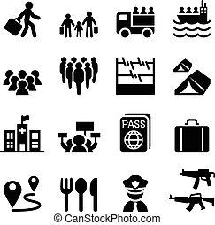 rifugiato, set, immigrants, immigrazione, icone