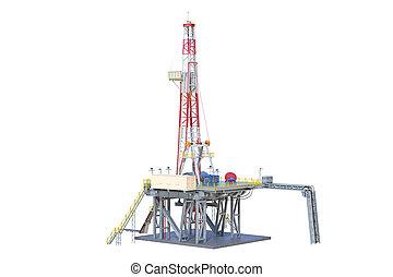 Rig metal platform machinery oil production. 3D rendering