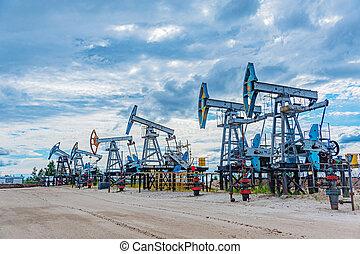 rig., running., sajt., jack, gas, produktion, pump, fossil, krig, oilfield, crisis., råolja, concept., drivmedel, prices., global, gymnastik, production., borrtorn, petroleum