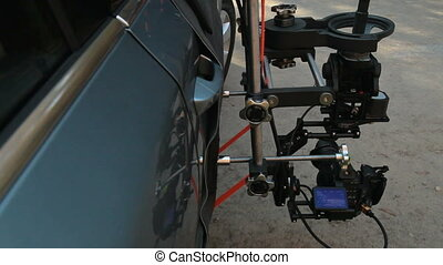 Rig with hot head camera mounted on the outside of the car
