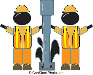 Rig Workers Drilling Oil - simple design of rig worker...
