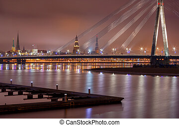 Riga. Cable-stayed bridge. - Modern cable-stayed bridge...