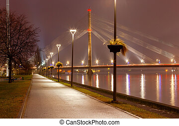 Riga. Cable-stayed bridge. - View of the cable-stayed bridge...