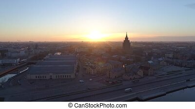 Riga city and evening time Old town Riga Drone flight over Roads and Market