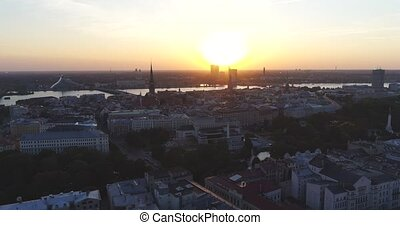 Riga city and evening time sunset Old town Riga Drone flight...