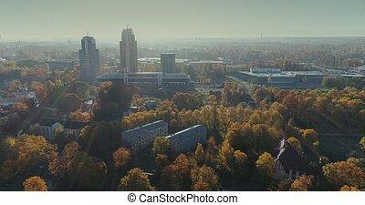 Riga city Autumn buildings living houses Drone flight sunny...