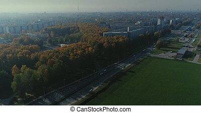 Riga city Autumn buildings living houses Drone Time-lapse -...