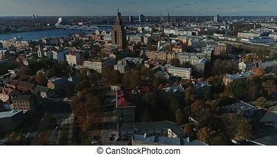Riga city Autumn buildings living houses Drone Time-lapse...