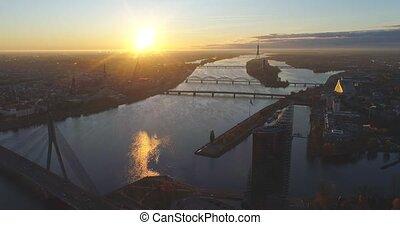 Riga city evening sunset Old town Riga Drone flight over...
