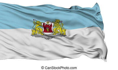 Riga City Isolated Waving Flag