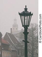 Riga City Lantern in the Fog