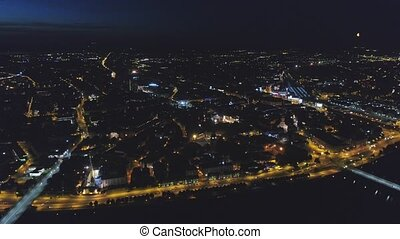 Riga city Night time bridge Autumn Drone flight