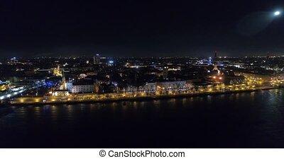 Riga city Night time Old town Riga Autumn Drone flight over...