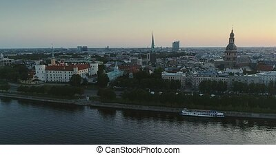 Riga city Old Down Town Autumn Drone Flight bridges daugava river Library