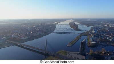 Riga city Old Down Town Autumn Drone Flight day time