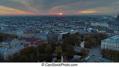 Riga city Old Down Town Autumn Drone Flight night - Riga...
