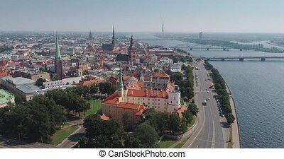 Riga city Old Down Town summer Drone Flight over Daugava river