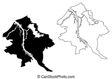 Riga City (Republic of Latvia) map vector illustration, ...