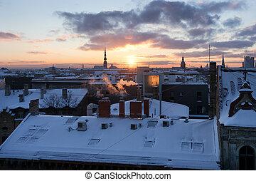 riga, coucher soleil, hiver, vue