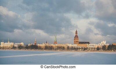 Riga Down Town in winter time, Daugava river, snow - Riga...