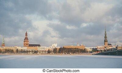 Riga Down Town in winter time, Daugava river, snow - Riga ...