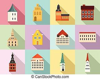 Riga icons set, flat style