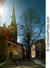 riga, kerk, in, de, oude stad