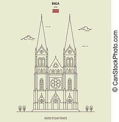 riga , latvia., άγιος , εκκλησία , διακριτικό σημείο , francis , εικόνα