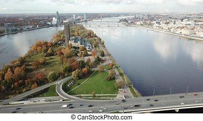 Riga Latvia Daugava river Zakusala island Aerial drone top...