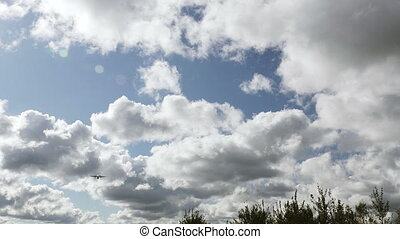 RIGA LATVIA - OCTOBER 8: Airbaltic plane landing in airport...