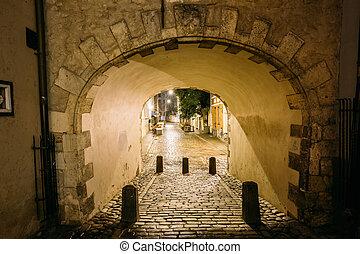 riga, latvia., sueco, puerta, puertas, es, un, famoso, landmark., cultural
