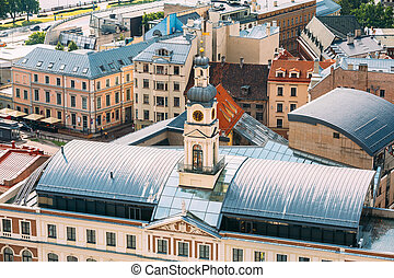 Riga, Latvia. Top View Of Famous Landmark - Riga City Hall In Sunny