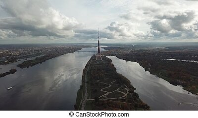 Riga Latvia Tv Tower Zakusala Europe biggest Aerial drone...
