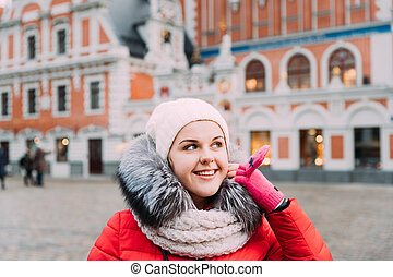 Riga, Latvia. Young Beautiful Pretty Caucasian Girl Woman Dresse