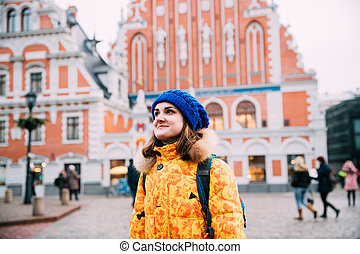 Riga, Latvia. Young Beautiful Pretty Caucasian Girl Woman Dressed