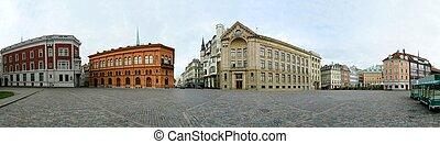 Riga, Latvia's capital, old city panoramic view.