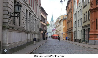 """Riga old city street view, latvia, 4k"""