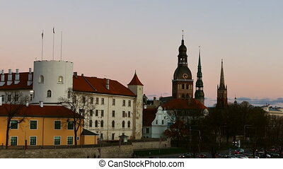 Riga Old Town Skyline after sunset time